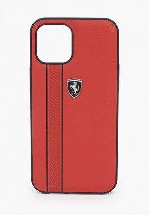 Чехол для iPhone Ferrari 12 Pro Max (6.7), Off-Track Genuine leather Stitched stipe Red. Цвет: красный