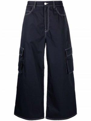 Широкие джинсы с карманами карго Sunnei. Цвет: синий