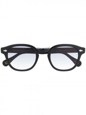 Солнцезащитные очки в круглой оправе Moscot. Цвет: черный