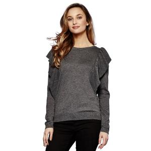 Пуловер с круглым вырезом из тонкого трикотажа YUMI. Цвет: серый