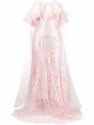 Вечернее платье Marguerite Jenny Packham. Цвет: розовый