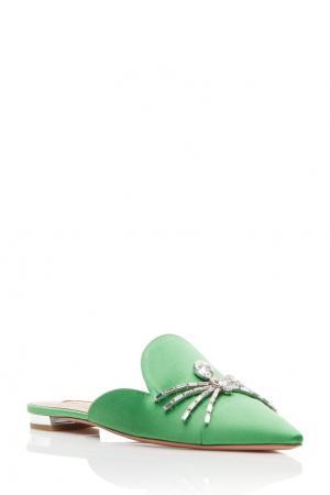 Зеленые сатиновые слиперы Crystal Spider Flat Aquazzura. Цвет: зеленый
