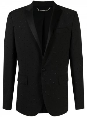 Пиджак со стразами Les Hommes. Цвет: черный