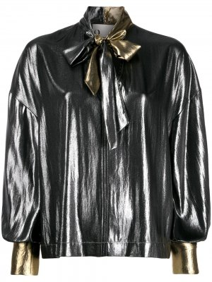 Расклешенная блузка с бантом 8pm. Цвет: серебристый