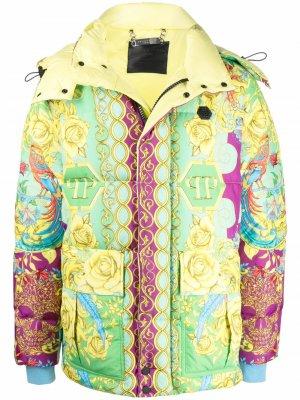 Куртка с принтом Baroque Philipp Plein. Цвет: желтый