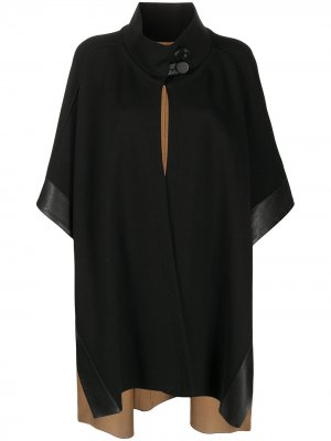 Кейп с воротником-воронкой и контрастными вставками D.Exterior. Цвет: черный