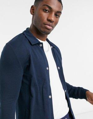 Темно-синяя трикотажная спортивная куртка -Темно-синий ASOS DESIGN