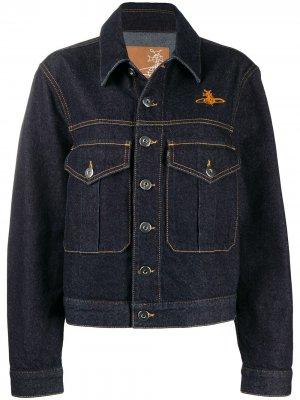 Джинсовая куртка с вышитым логотипом Vivienne Westwood Anglomania. Цвет: синий