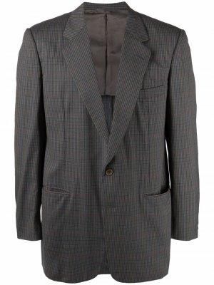 Однобортный пиджак 1990-х годов в клетку Burberry Pre-Owned. Цвет: серый