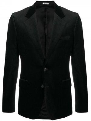 Бархатный однобортный пиджак Alexander McQueen. Цвет: черный