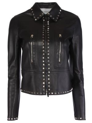 Кожаная куртка VALENTINO. Цвет: черный