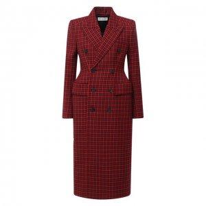 Шерстяное пальто Balenciaga. Цвет: красный