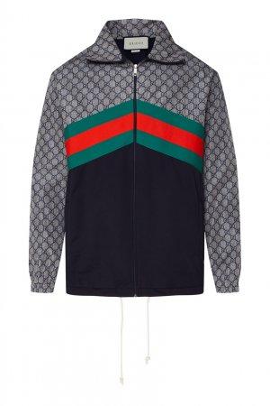 Олимпийка оверсайз с шевронами и монограммами Gucci. Цвет: multicolor