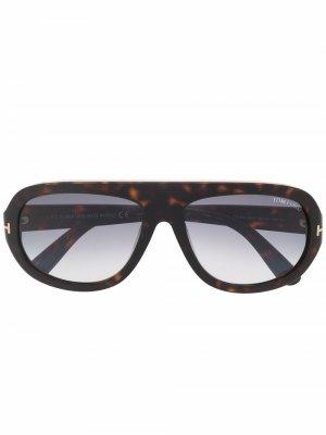 Солнцезащитные очки-авиаторы Hugo TOM FORD Eyewear. Цвет: коричневый