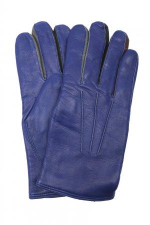 Синие кожаные перчатки с логотипом PAUL SMITH. Цвет: синий
