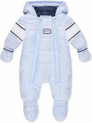Дутый комбинезон с логотипом BOSS Kidswear. Цвет: синий