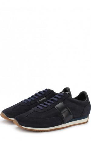 Замшевые кроссовки на шнуровке Tom Ford. Цвет: синий
