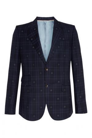 Синий костюм в клетку Gucci. Цвет: синий