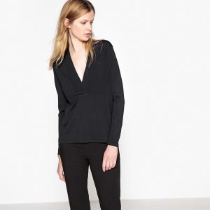Пуловер-туника с V-образным вырезом из тонкого трикотажа LA REDOUTE COLLECTIONS. Цвет: слоновая кость