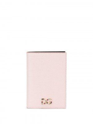 Обложка для паспорта с декорированным логотипом Dolce & Gabbana. Цвет: розовый