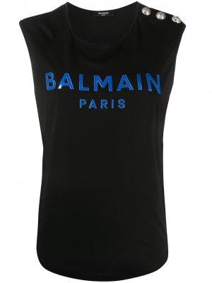Топ без рукавов с логотипом Balmain. Цвет: синий