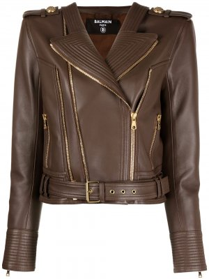 Байкерская куртка Balmain. Цвет: коричневый