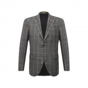 Шерстяной пиджак Sartoria Latorre. Цвет: серый