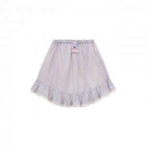 Хлопковая юбка Zimmermann. Цвет: синий