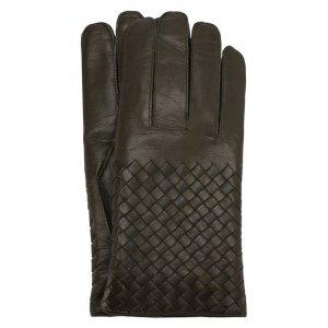 Кожаные перчатки Bottega Veneta. Цвет: зелёный