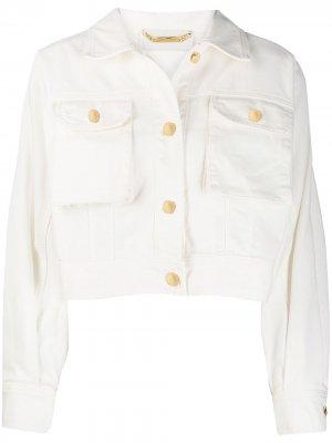 Укороченная джинсовая куртка Alberta Ferretti. Цвет: белый