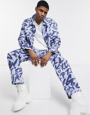 Джинсовая куртка с принтом граффити от комплекта -Голубой Jaded London