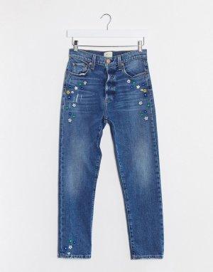 Синие джинсы герлфренд с завышенной талией Jeans-Синий Alice & Olivia