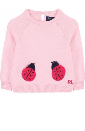 Хлопковый пуловер с аппликациями Polo Ralph Lauren. Цвет: розовый