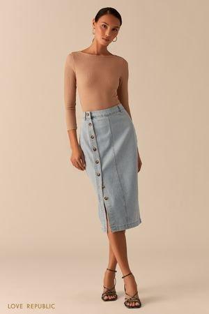 Джинсовая юбка-карандаш на пуговицах LOVE REPUBLIC