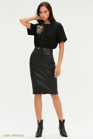 Лаконичная юбка миди из экокожи LOVE REPUBLIC