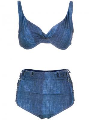 Джинсовое бикини с завышенной талией Amir Slama. Цвет: синий