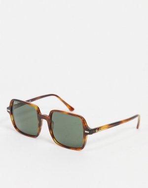 Большие женские солнцезащитные очки в прямоугольной оправе коричневого цвета 0RB1973-Коричневый цвет Ray-Ban