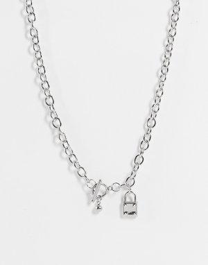 Ожерелье из цепочки с замочком -Серебристый SVNX