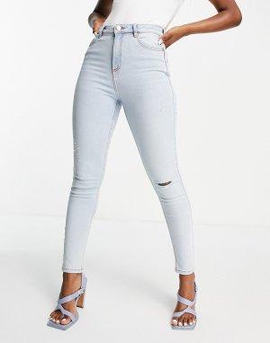 Выбеленные голубые зауженные джинсы с завышенной талией и рваной отделкой Lizzie-Голубой Miss Selfridge
