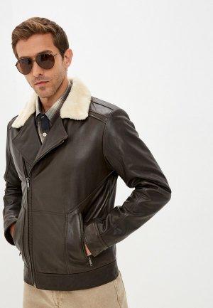 Куртка кожаная Urban Fashion for Men. Цвет: коричневый