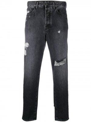 Зауженные джинсы с эффектом потертости Marcelo Burlon County of Milan. Цвет: черный