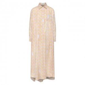 Шелковое платье Lanvin. Цвет: разноцветный