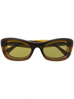 Солнцезащитные очки BV1088S в прямоугольной оправе Bottega Veneta Eyewear. Цвет: зеленый