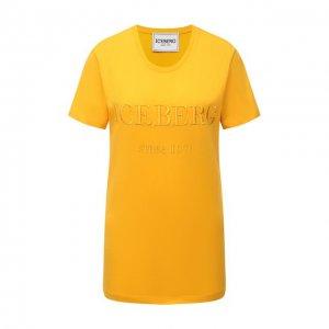 Хлопковая футболка Iceberg. Цвет: жёлтый