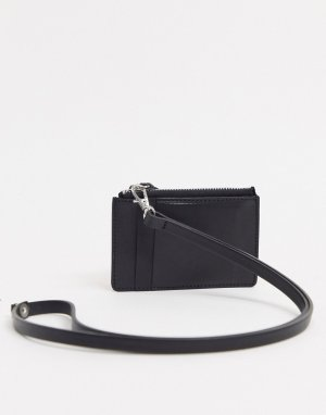 Черный кожаный кошелек с ремешком, кредитницей и молнией ASOS DESIGN
