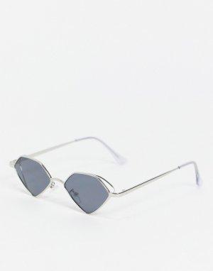 Солнцезащитные очки с серебристой оправой и затемненными стеклами -Серебристый ASOS DESIGN