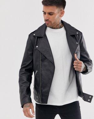 Черная кожаная байкерская куртка -Черный ASOS DESIGN
