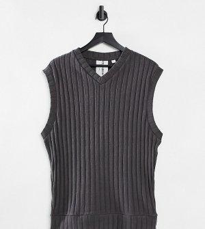 Темно-серый трикотажный oversized-жилет от комплекта COLLUSION Unisex