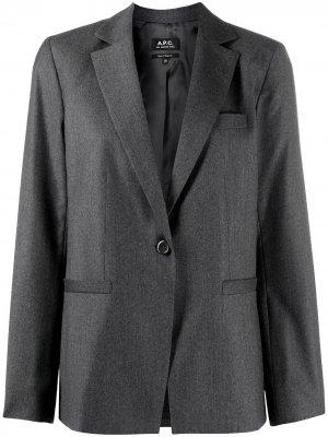 Пиджак на пуговице с длинными рукавами A.P.C.. Цвет: серый