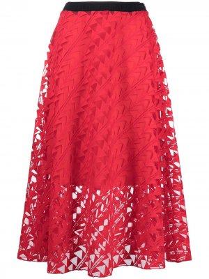 Сетчатая юбка с вышивкой Karl Lagerfeld. Цвет: красный